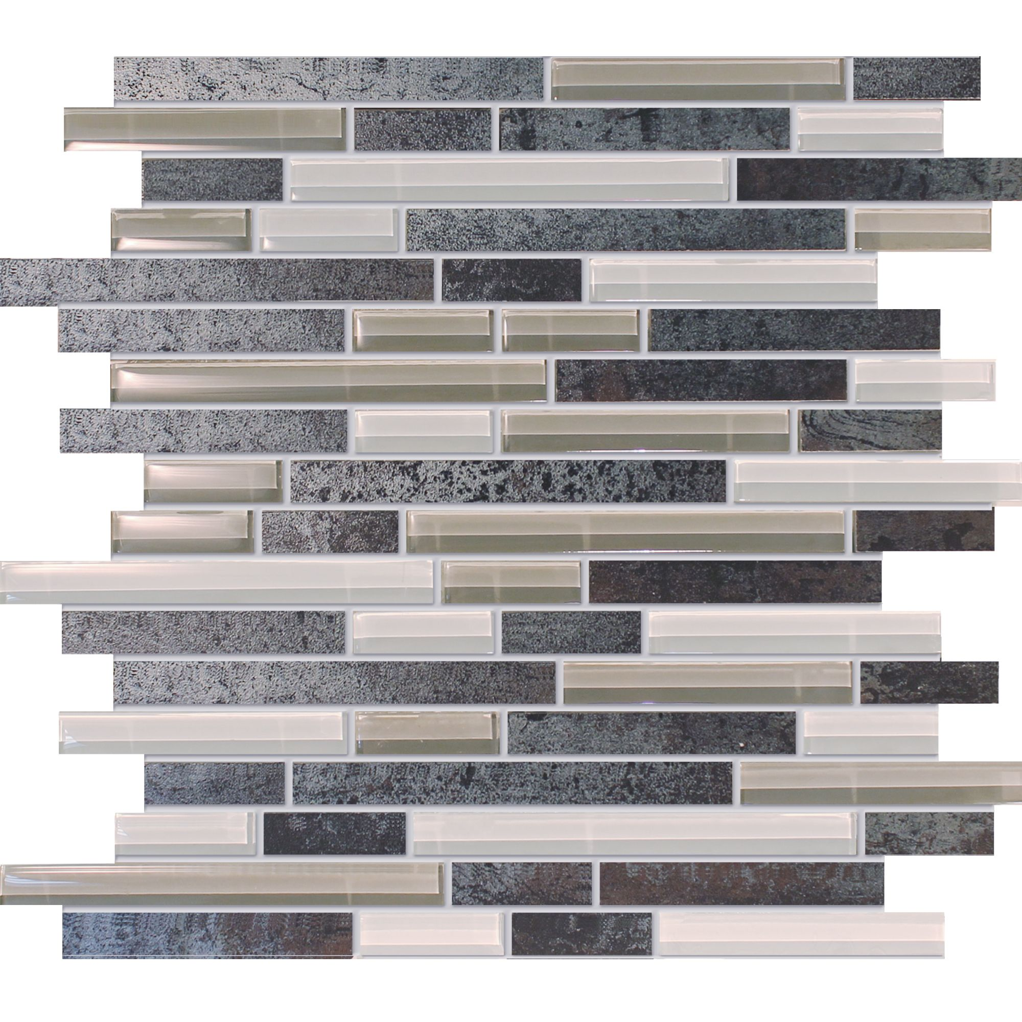 Metal Porcelain and Glass Random Strip Mosaic 12inx12in $8.99 s/f ...
