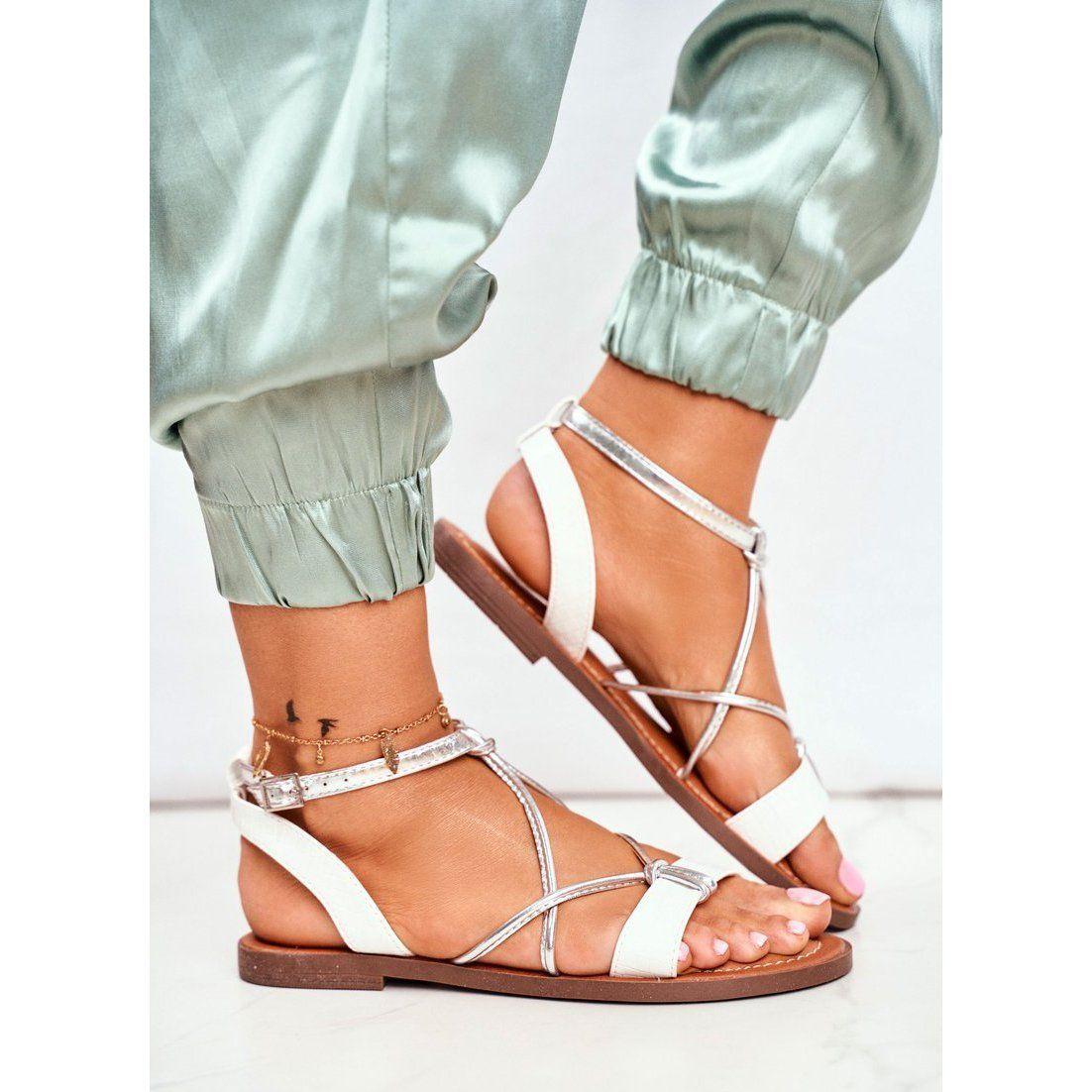 Fw1 Sandaly Damskie Plaskie Biale Alison Lace Up Flat Lace Up Shoes