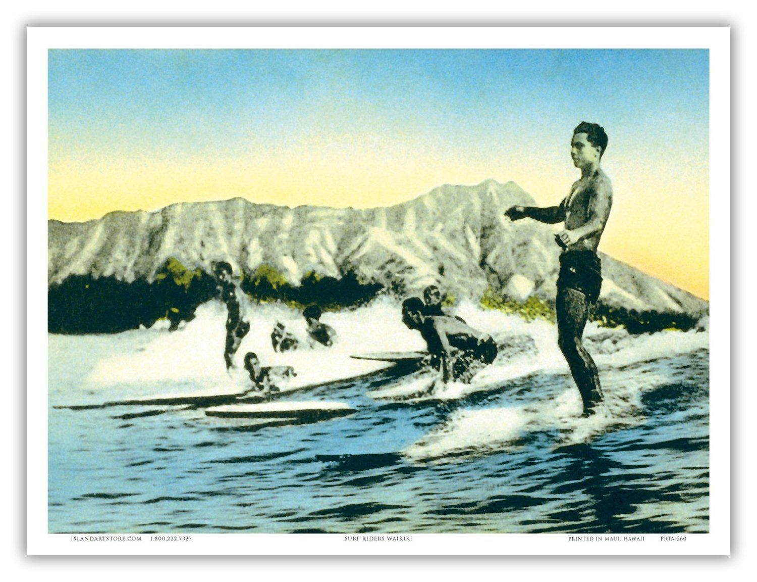 Amazon.com - Sea Gods - Surf Riders, Waikiki HawaiÕi - Diamond Head Crater · Hawaiian ArtVintage ...