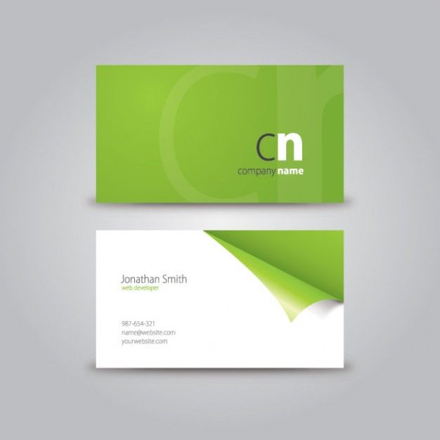 Curled corner business card download free vector green for Business card eps template