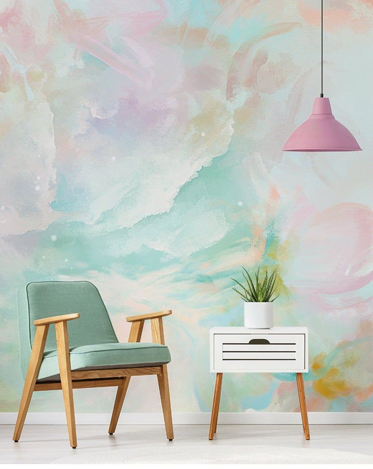 Watercolor Abstract Clouds Wallpaper Wall Mural, Rendering