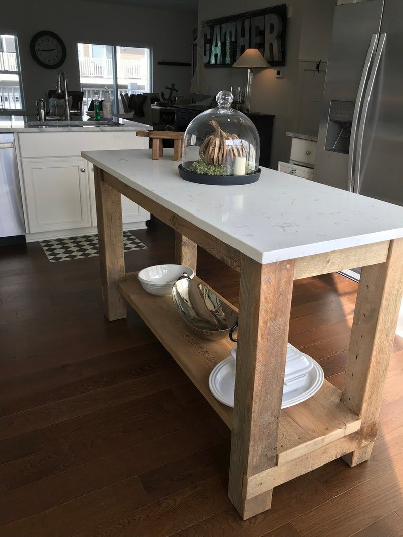 Barn Wood Kitchen Island With Quartz Top Made From Reclaimed Pine Barnwood With Images Rustic Kitchen Island Rustic Kitchen Wood Kitchen Island