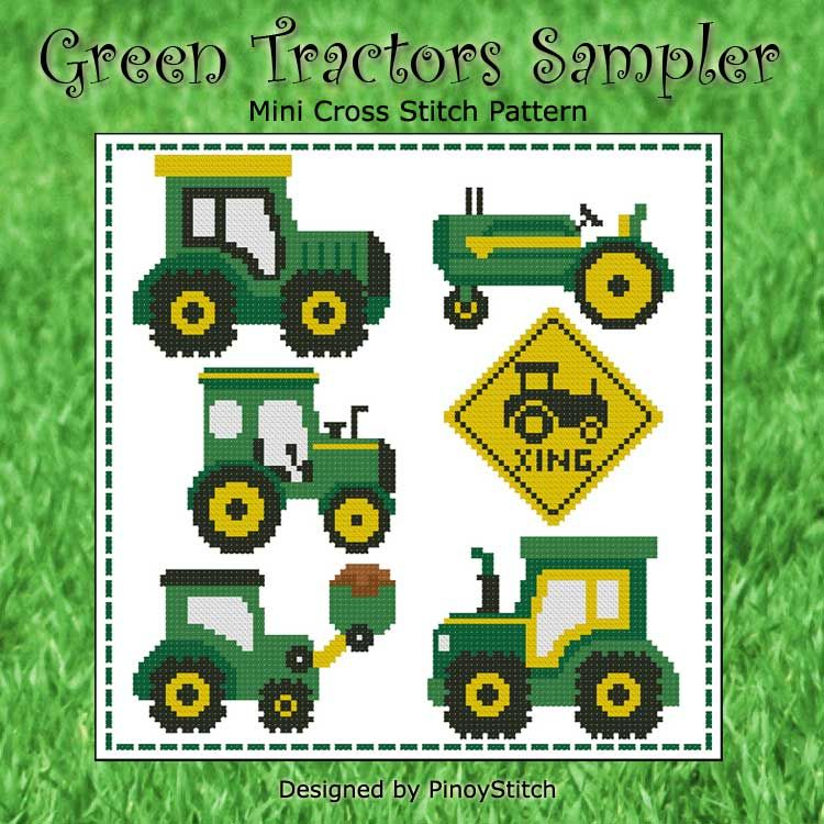 John Deere Embroidery Designs Collections : Green tractors sampler minicrossstitch the world of