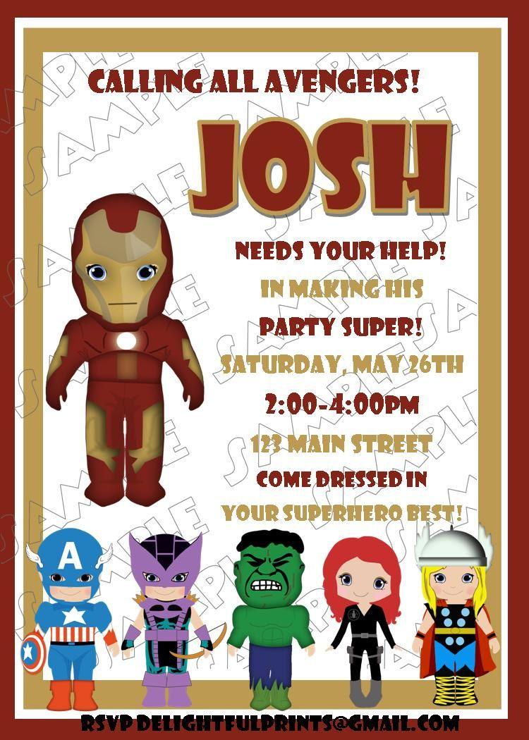 Avengers birthday invitation by delightfulprints $10, via Etsy ...