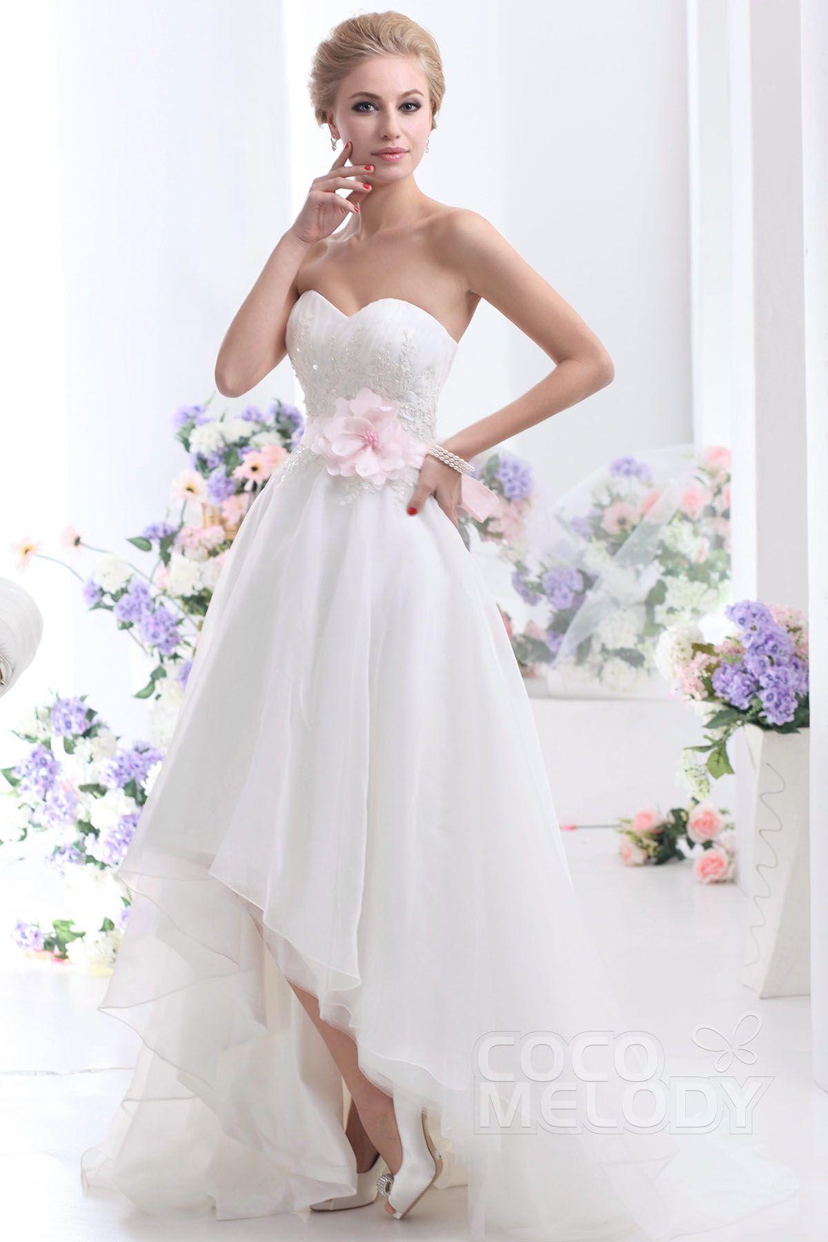 Pretty asymmetrical sweetheart highlow organza wedding dress