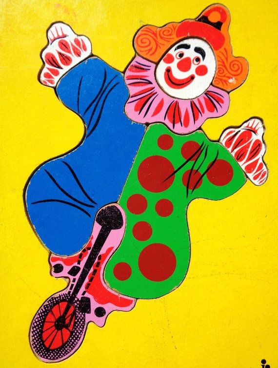 Vintage Wooden Clown Puzzle from Judy Instructo by AlvandiVintage