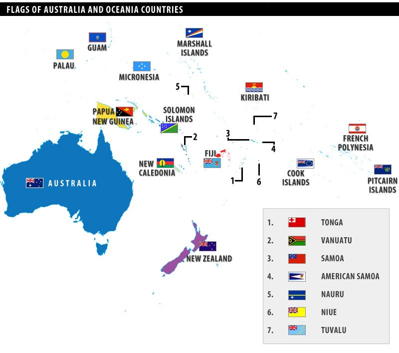 Flags Of Australia And Oceania Countries World Geography Flag Map