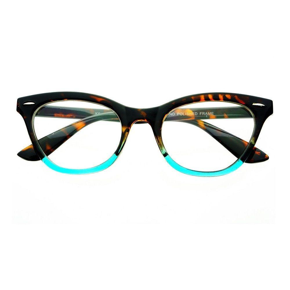 09612f77baf Womens Vintage Clear Lens Cat Eye Glasses Frames Two Tone Tortoise ...