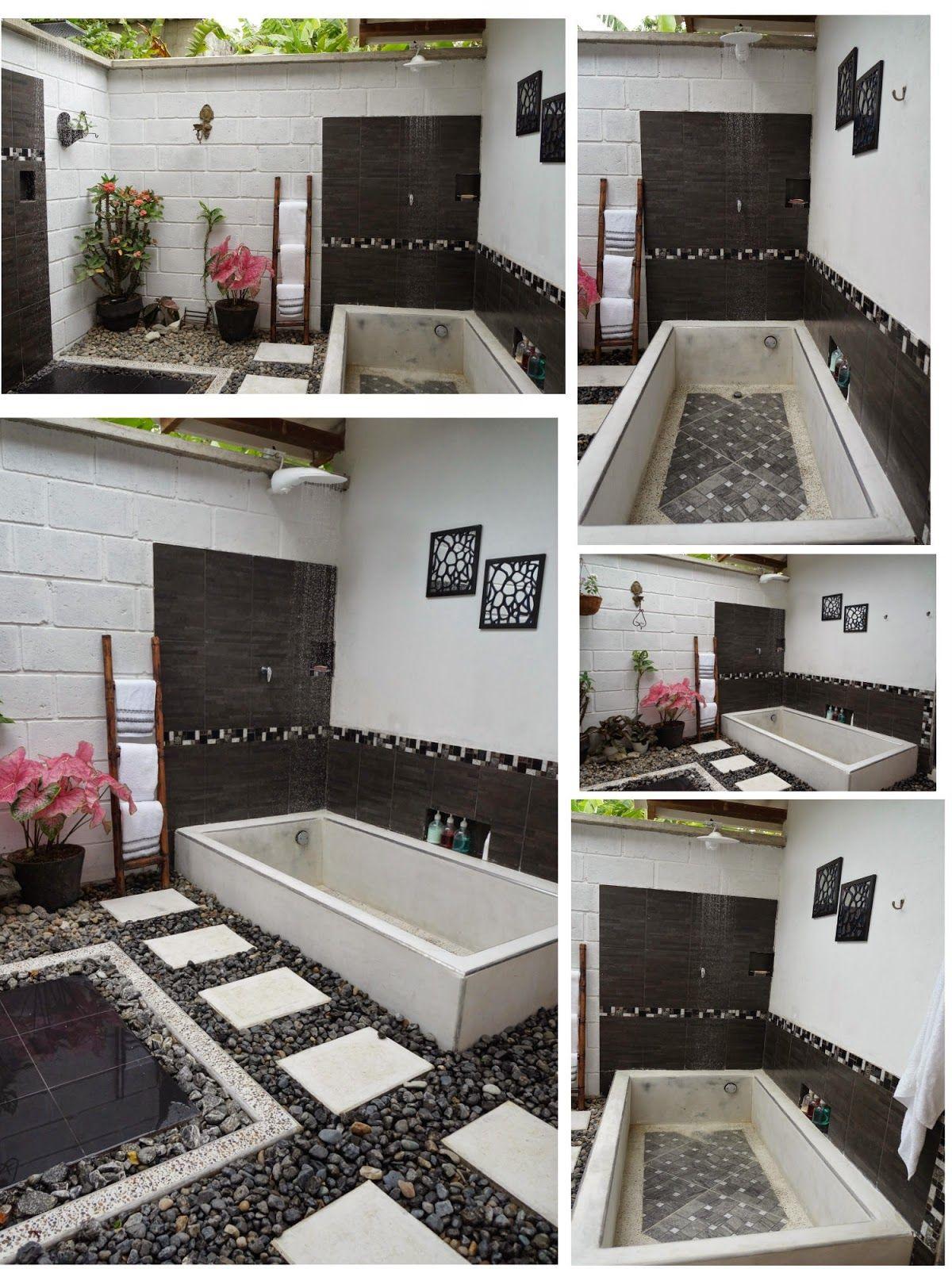 Un espectacular baño de aspecto envejecido en una casa \'al aire ...