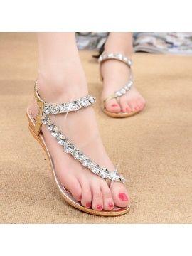 e88775515 Stylish Rhinestone Elastic Women Flat Sandals - Daisy Dress For Less