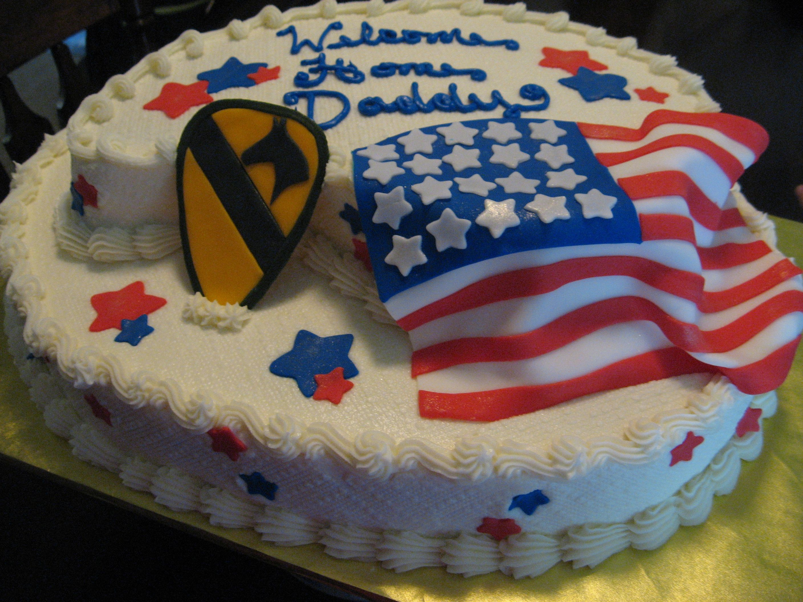 Welcome home cake military deployment my cake for Army cake decoration