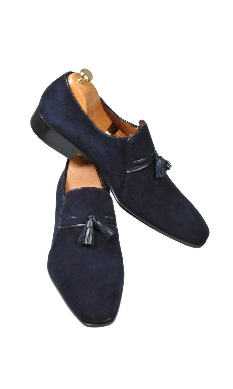 70edbe0a1b3fa Handmade Navy Blue Loafer Suede Men Shoes in 2019 | fashion | Shoes ...
