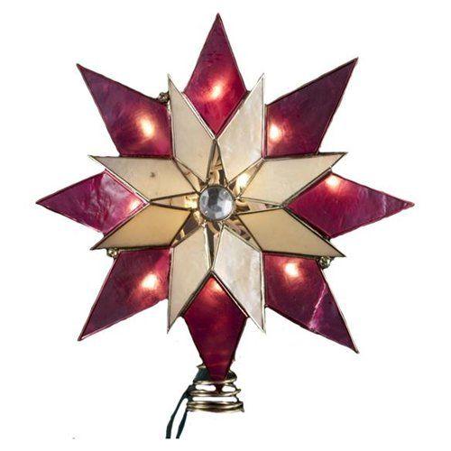 10″ Lighted Capiz Poinsettia Star Christmas Tree Star Topper – Clear Lights - 10″ Lighted Capiz Poinsettia Star Christmas Tree Star Topper €� Clear