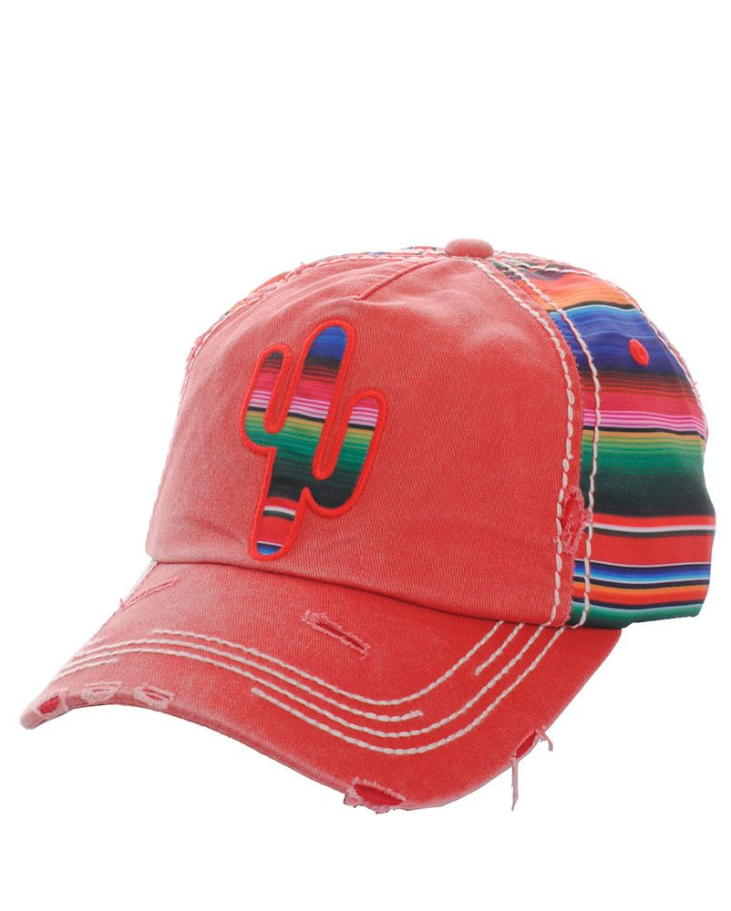 f720ff43cf02c Serape Aztec Cactus Trucker Baseball Cap Hat Red Cowgirl 100% Cotton  Distressed  SP  TruckerBaseball