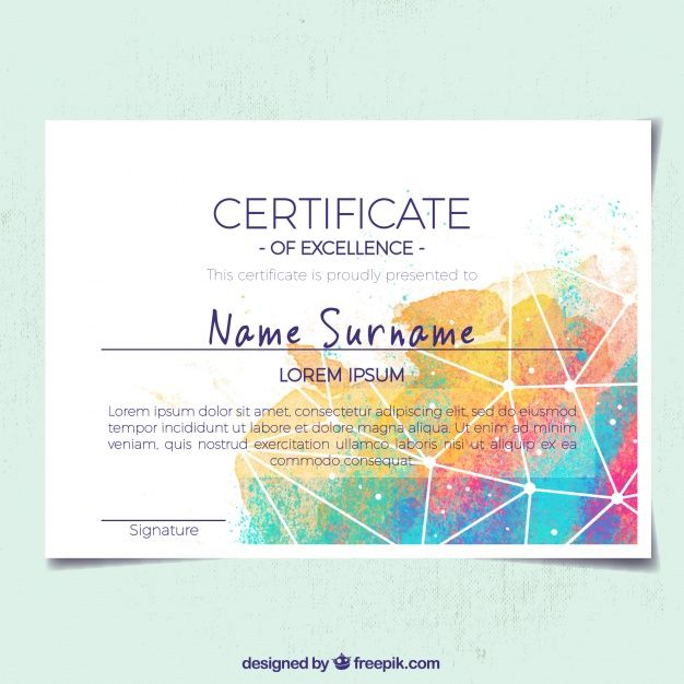 Abstract Certificate Of Appreciation With Colored Shapes Www