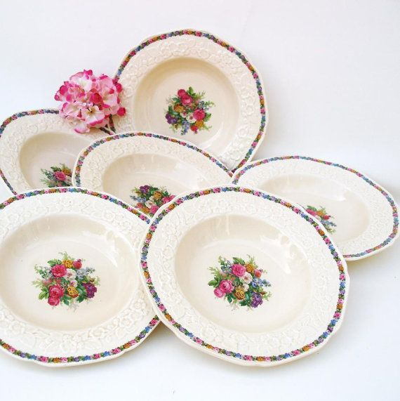 Antique Bowls Gainsborough Soup Bowls Crown Ducal by WhimzyThyme