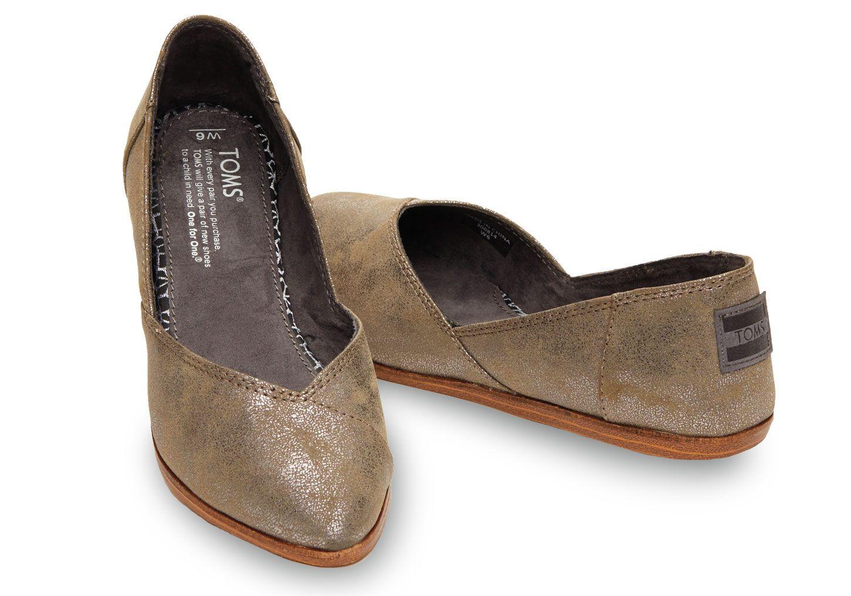 Gunmetal Synthetic Leather Women's Jutti Flats (size 9) // TOMS