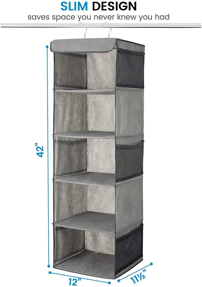 5 Shelf Hanging Wardrobe Storage Organiser Strong Durable