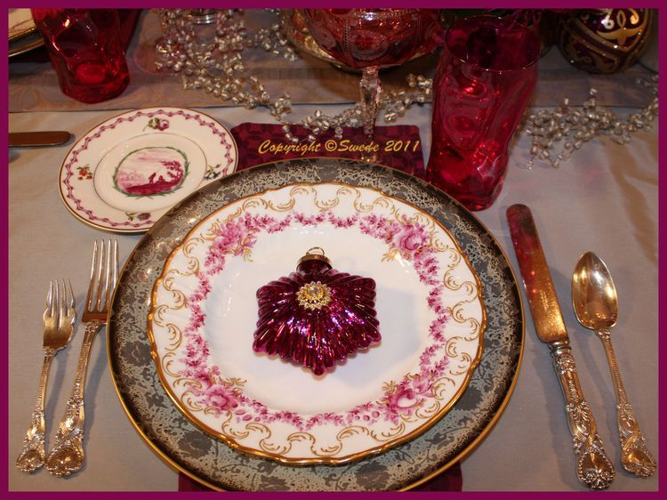 Decorating · The dinner plates ... & The dinner plates with magenta swags of flowers are antique German ...