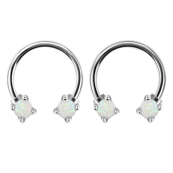 Septum Clicker Nose Ear Ring Captive Hinged Segment Piercing Helix Tragus Opal