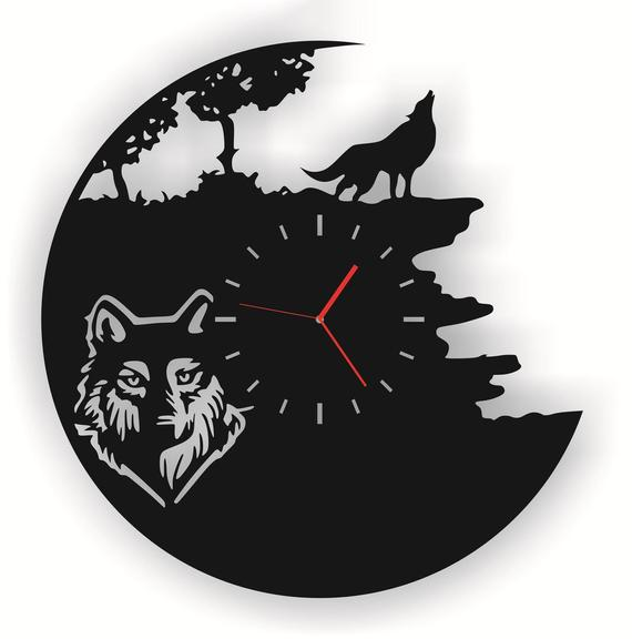 Wolf Clock, Dxf Svg Cdr Files, Laser Cut Wall Clock, Clock