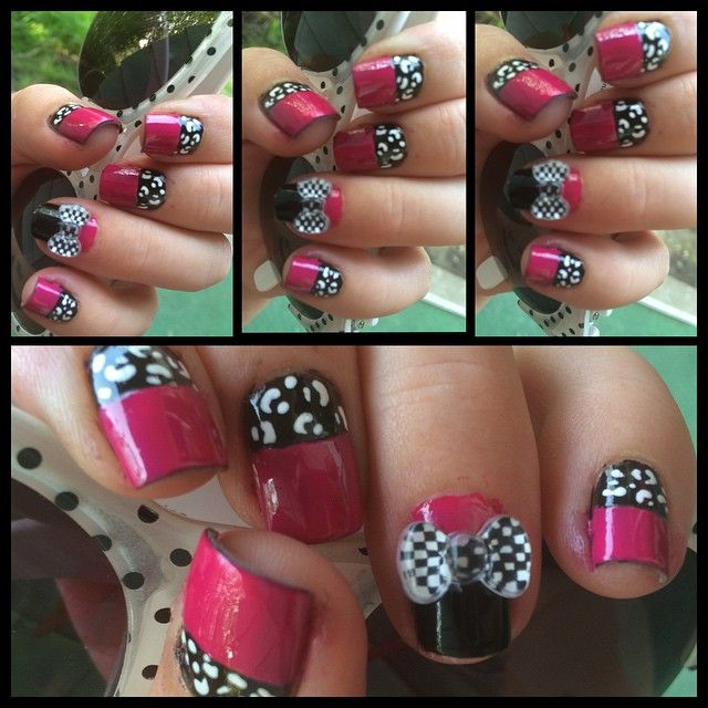 #nails #nailart #nailfun #nailbows #nailgeek #nailporn #nailswag #nailsdid #nailfiend #nailfreak #nailaddict #naildesign #nailjunkie #nailpolish #leopardprint #leopardprintnails #halfmoon #halfmoonmanicure #sundayfunday #blackandpink #checkers #instanail #instanailstyle #girlygirl #girly #girl