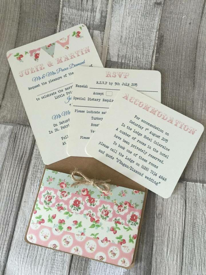 vintage colourful bunting wedding invitation tractor table plan ...