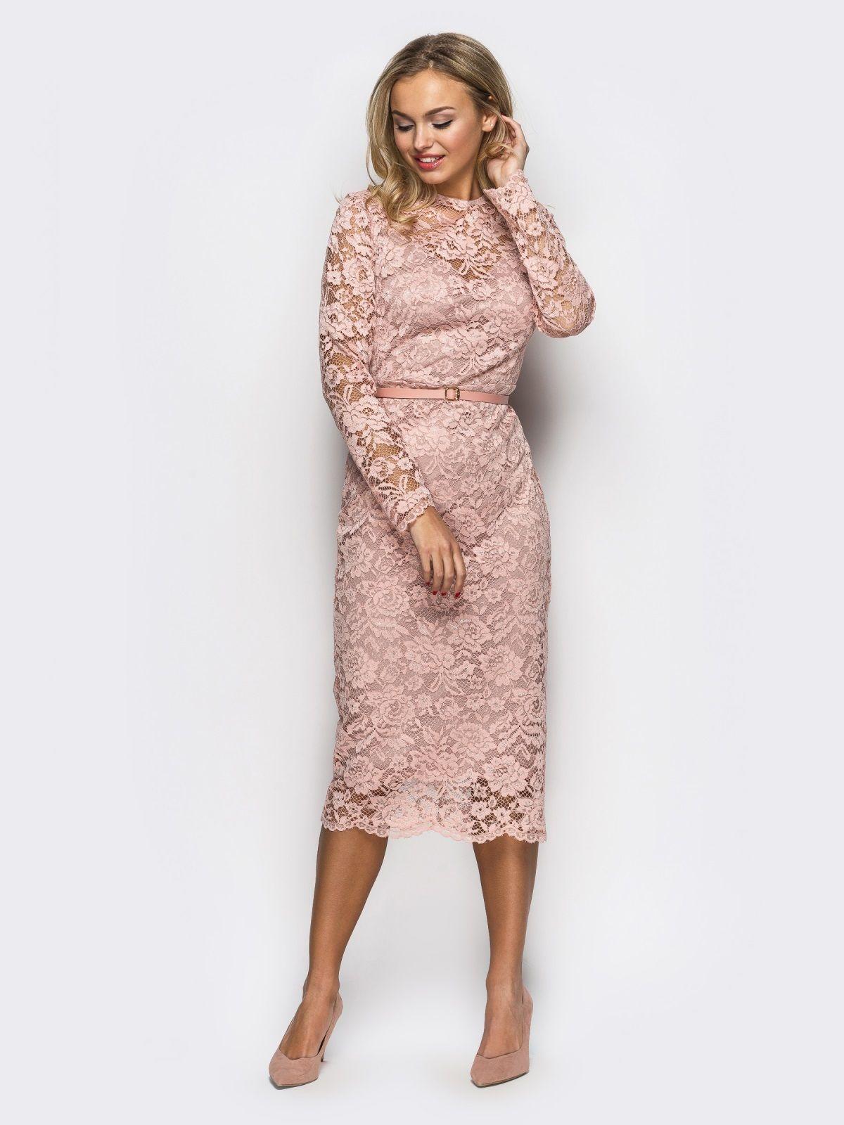 3b75bb971143546 Платье-футляр из нежного гипюра пудрового цвета. Размеры 44, 46 и 48 ...