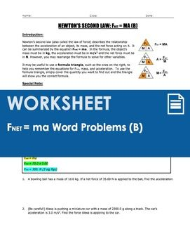 Worksheet F Ma Word Problems Part 2 Word Problems Worksheets Physics Concepts