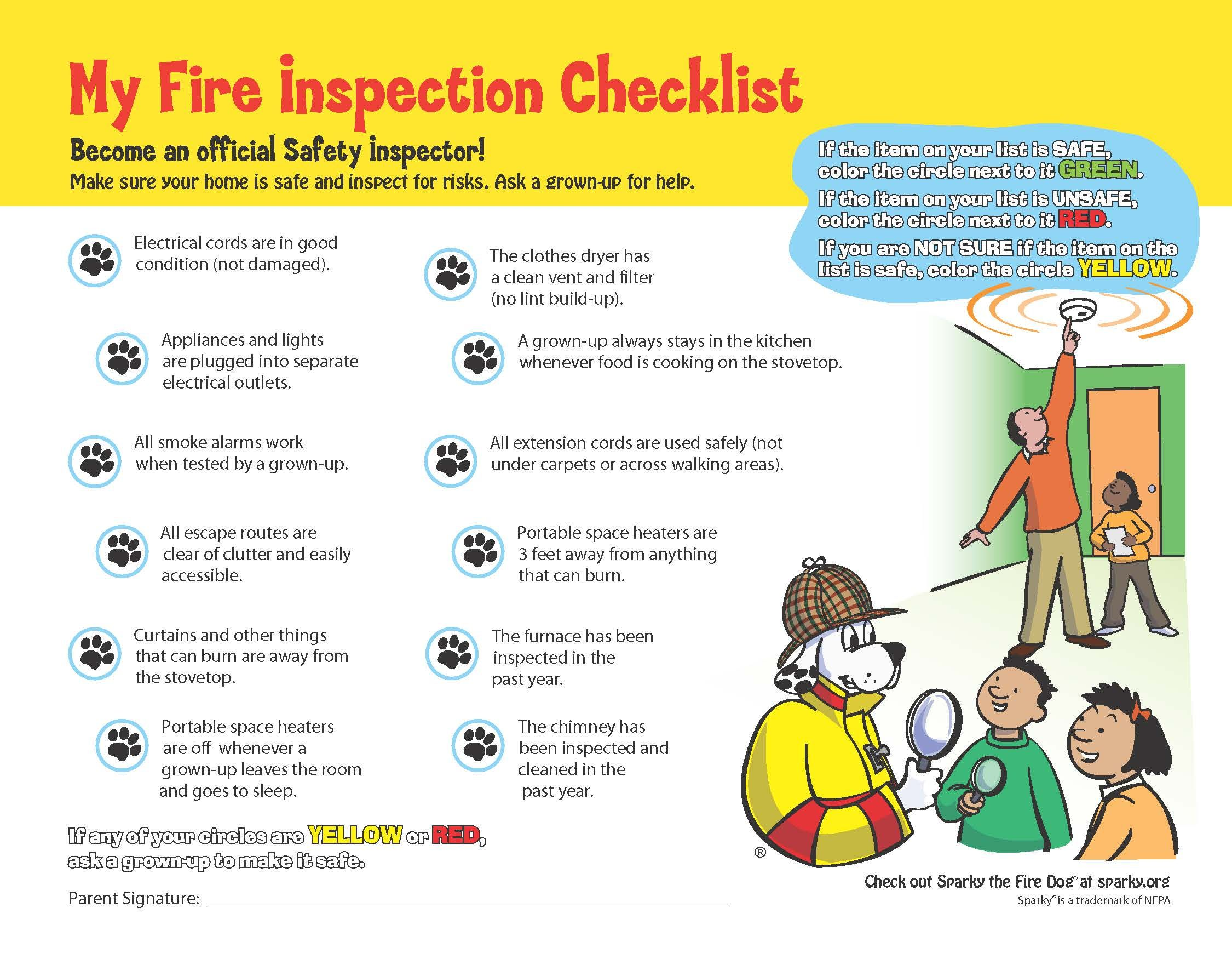 Sparky's Home Fire Inspection Checklist | Kids' Activities, Games ...