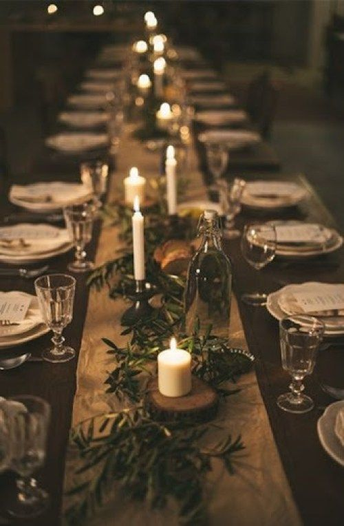 Beautiful Christmas Tablescape With Natural Materials Candles And Fresh Greenery Christmas Decorations Christmas Table Decorations Christmas Table Settings