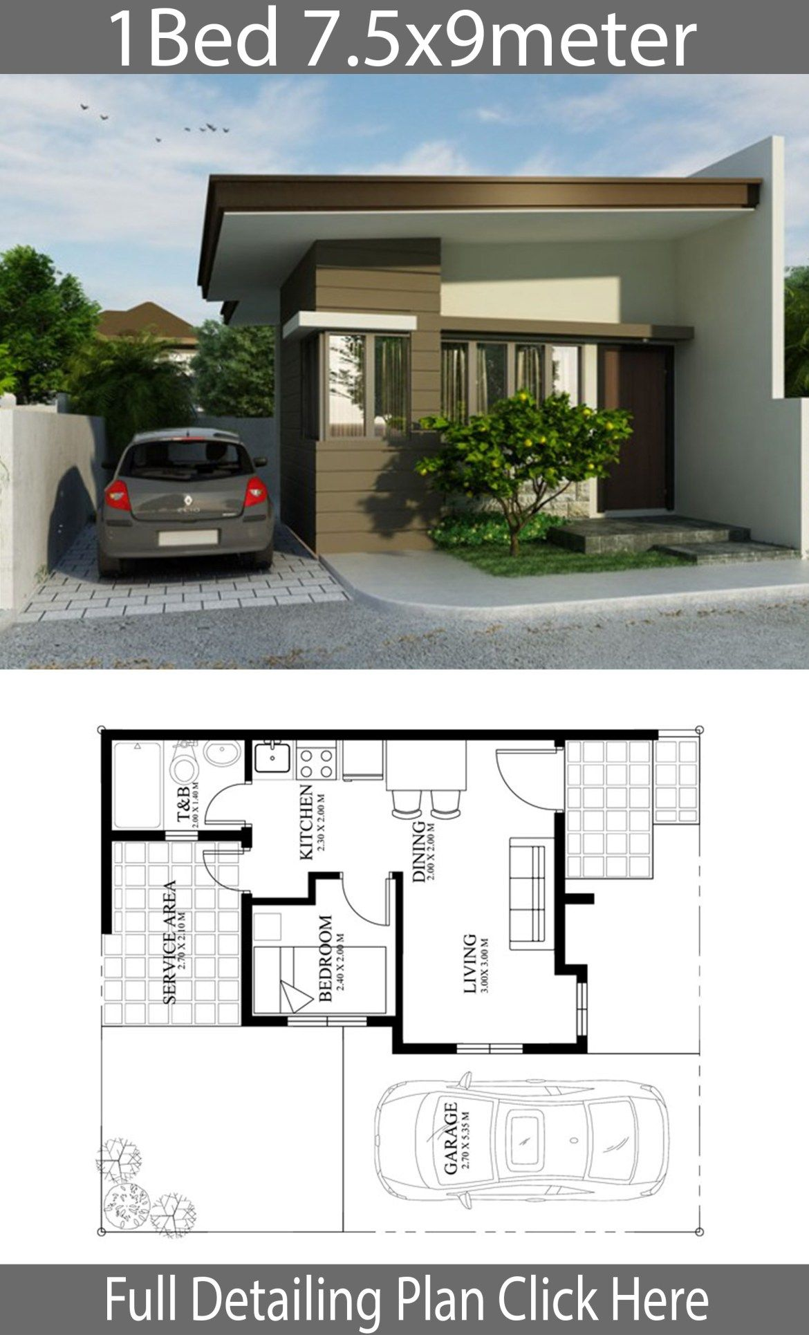 Small Home Design Plan 7 5x9m With One Bedrooms Home Planssearch Small House Design Plans Small House Design Small House