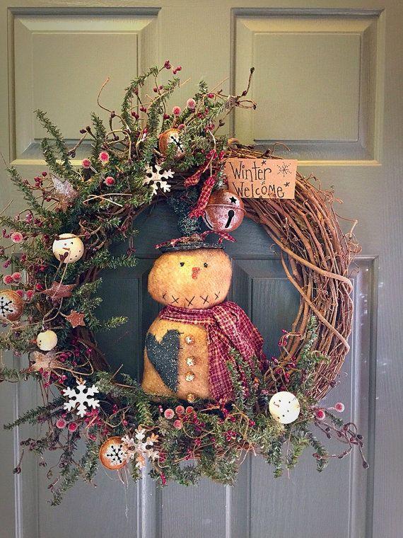 Primitive Snowman Christmas Wreath Christmas Wreath Primitive Wreath Christ Primitive Christmas Decorating Country Christmas Decorations Christmas Wreaths