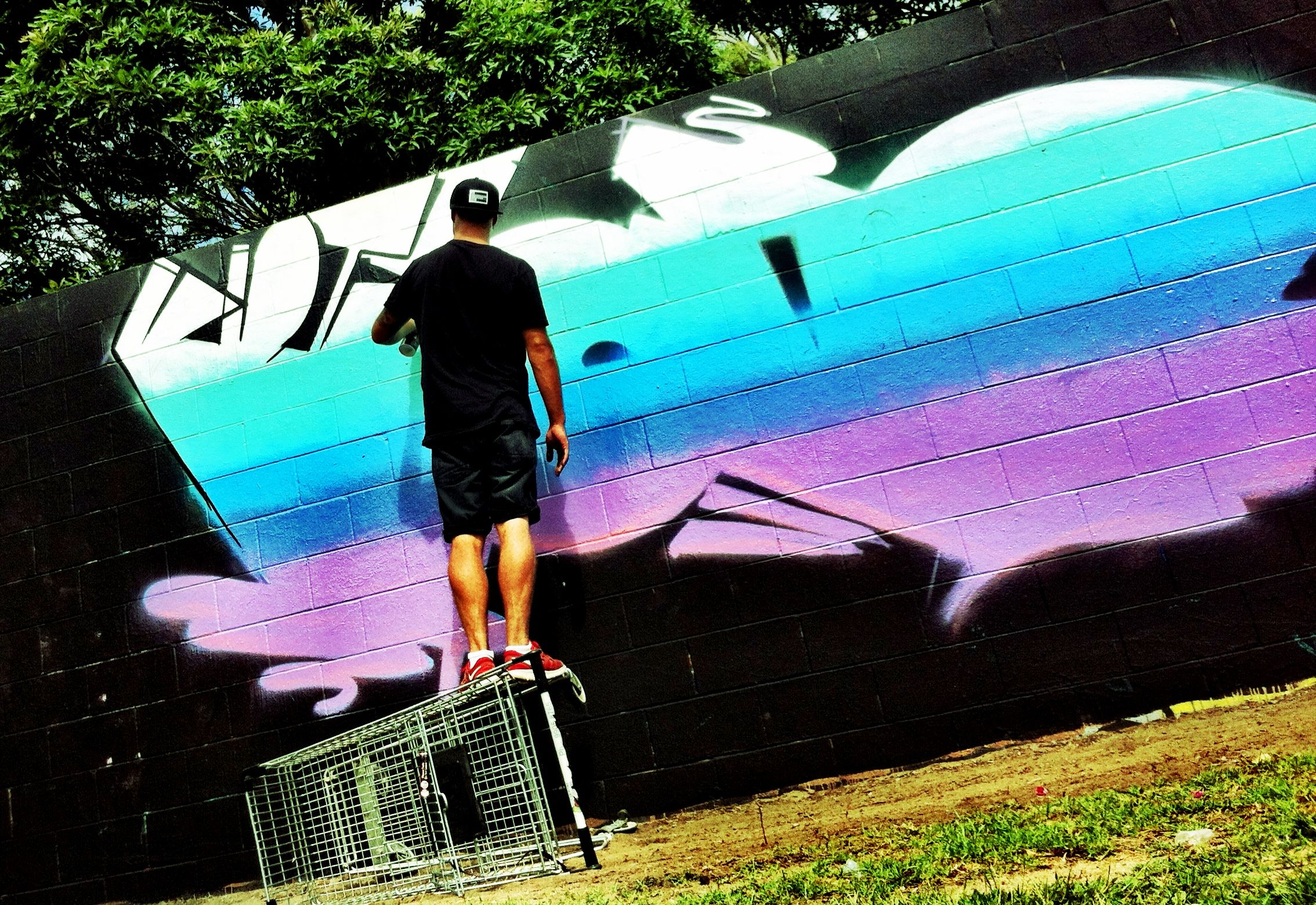 Graffiti tag in action aces idiot by James Snyman