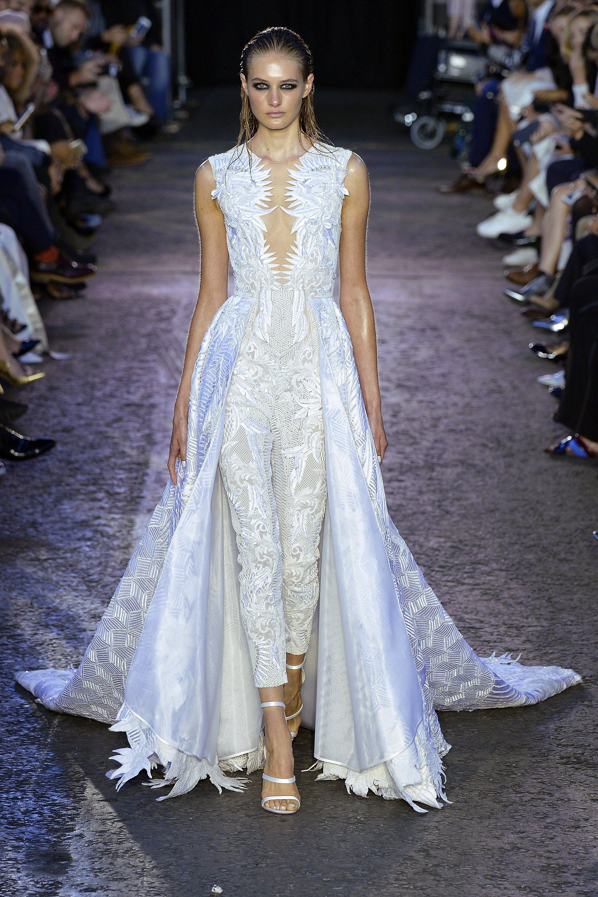 0dbb612175d Bridal Looks From the Spring 2016 Runways Julien Macdonald - Make an  entrance and an exit to remember in this jumpsuit ensemble with built-in  train.
