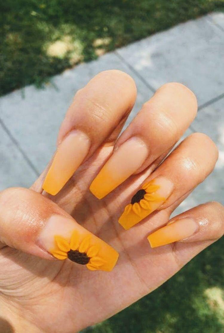 Sunflower Nails Sunflower Nails Coffin Nails Designs Casket Nails