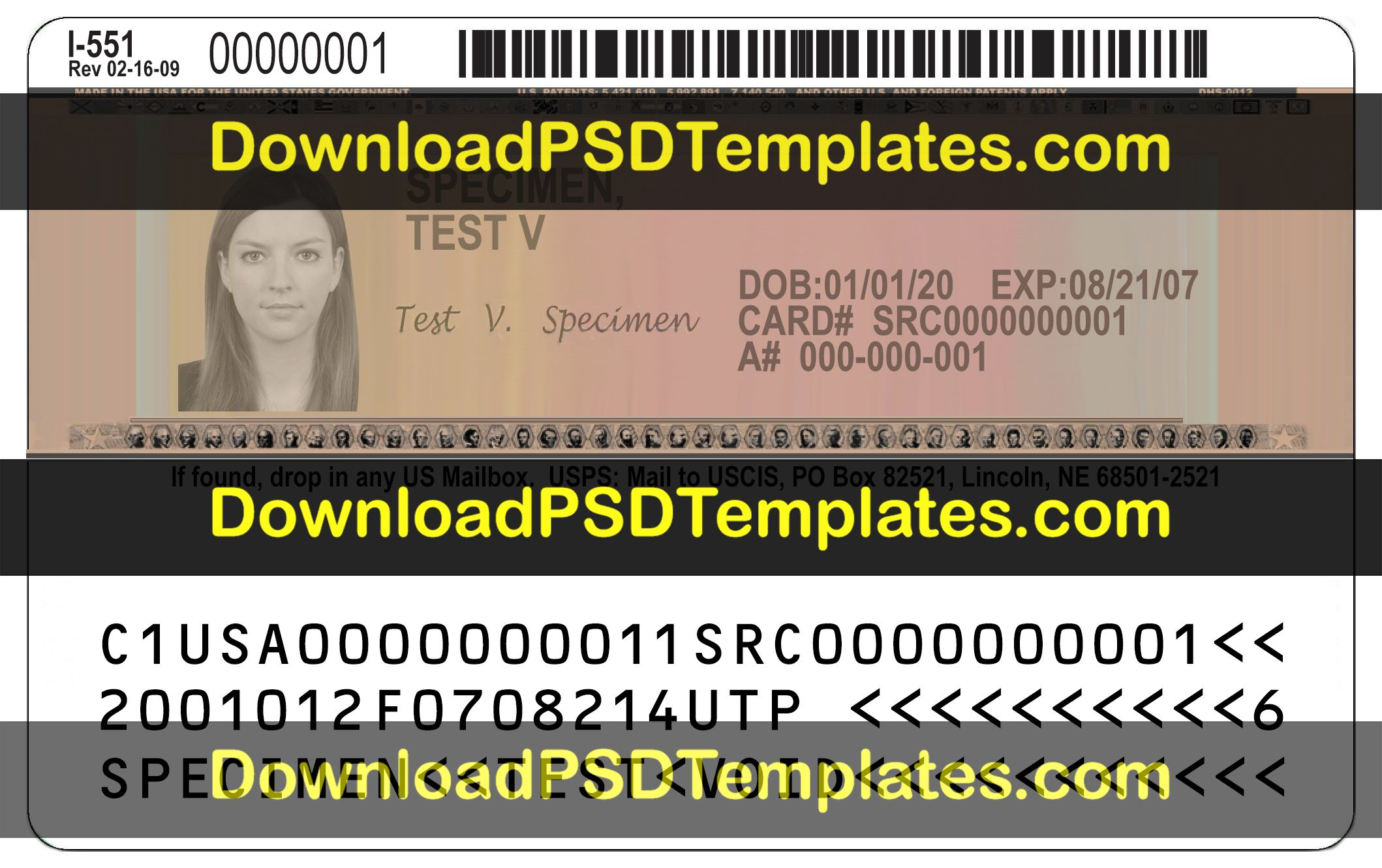 Us Permanent Resident Template Green Card Psd File Green Cards Id Card Template Cards