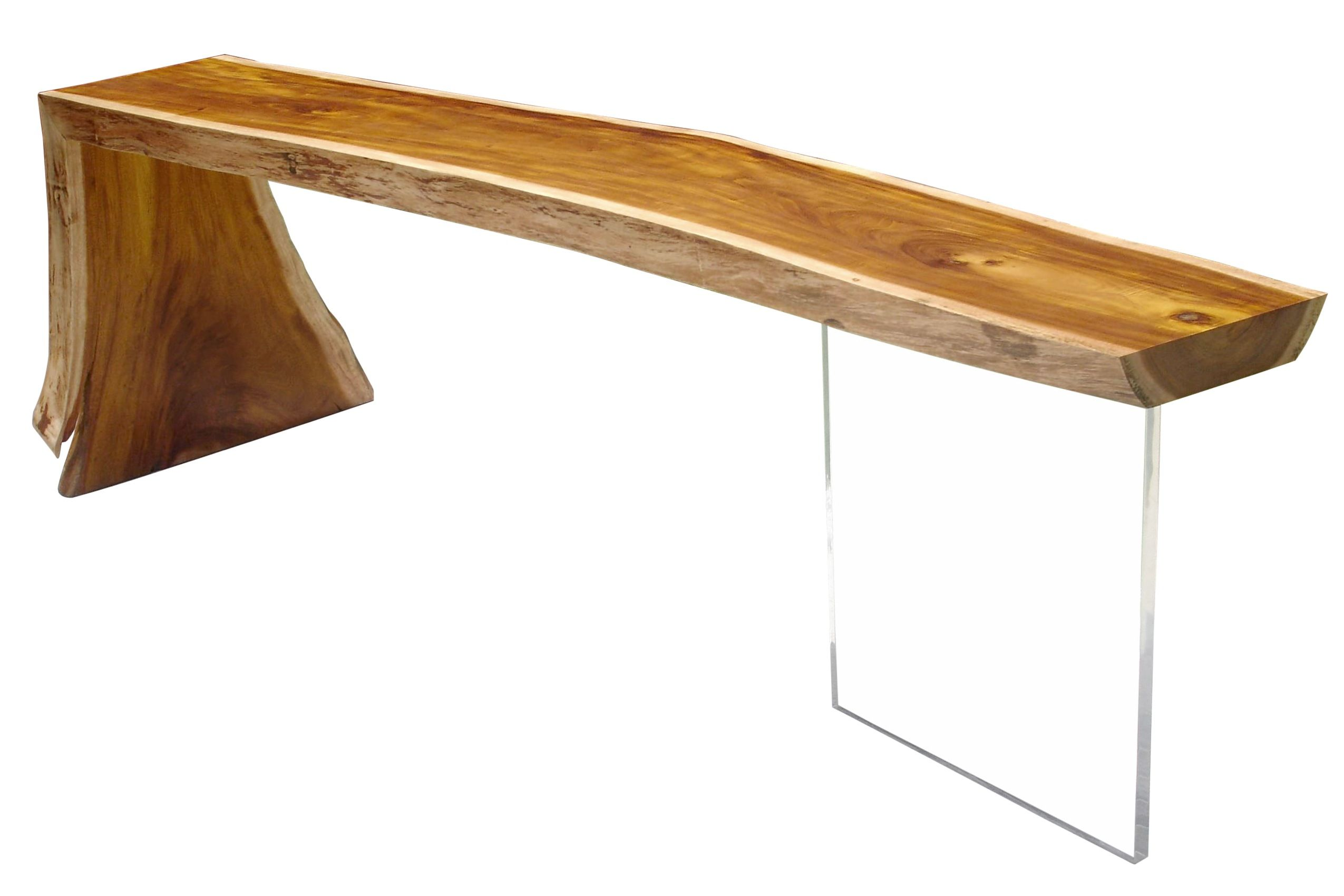 Raw Edge Reclaimed Wood Slab Console   Lucite Base. Contemporary Console  Table Made Of Solid