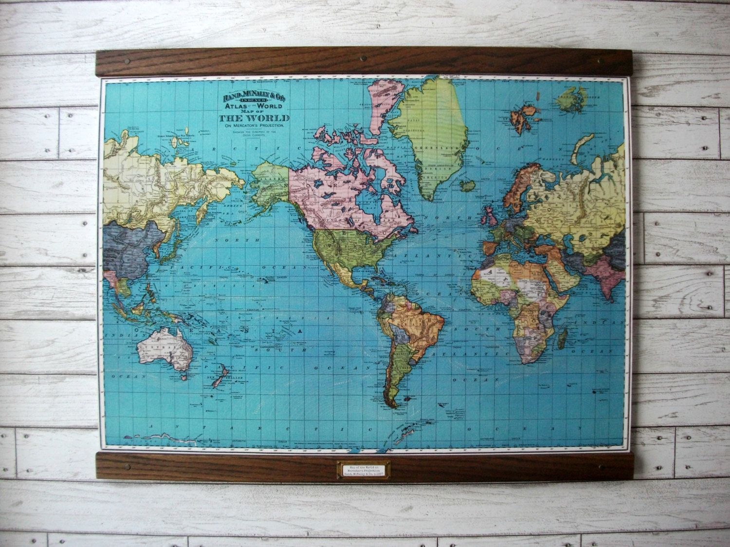 World map 1897 vintage pull down reproduction canvas fabric or large canvas school map vintage pull down style by grittycitygoods 8000 gumiabroncs Image collections