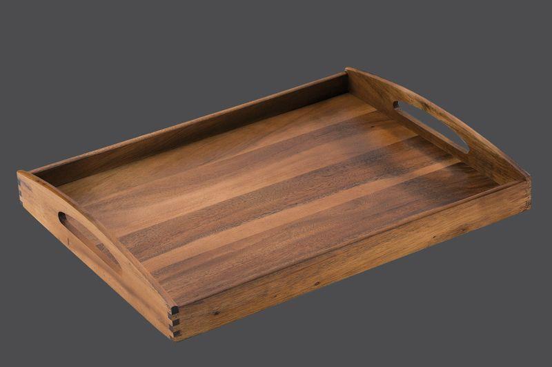 Zassenhaus Tablett, eckig  53 x 41 x 7 cm aus nachhaltig angebautem Akazienholz oder Gummibaumholz