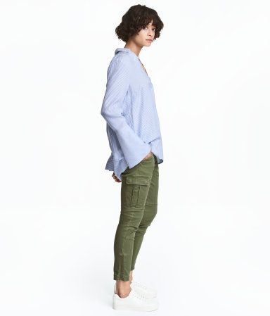 Khaki Green Cargo Pants In Stretch Cotton Twill Zip Fly With Button Side Pockets And Leg And Back Pockets With Flap An Fashion Cargo Trousers Khakis Outfit