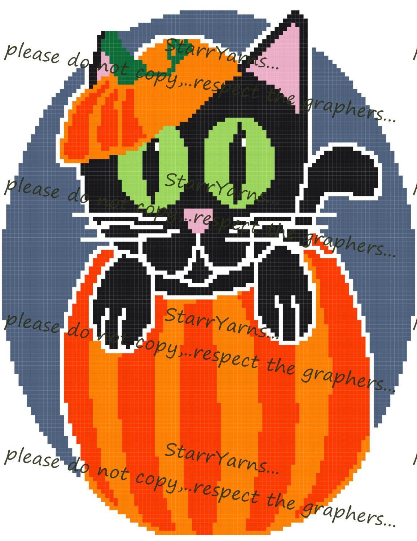 Halloween Pumpkin Kitty Crochet Graph Pattern
