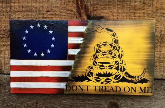 Don T Tread On Me Gadsden American Flag Wall Art Betsy Etsy American Flag Wall Art Wooden American Flag Flag Stand