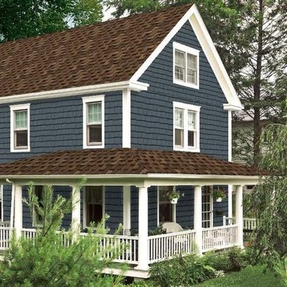 Brown roof blue siding white trim house remodel for How to get paint off siding