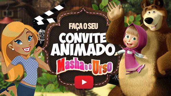 Convite Animado Virtual Masha E O Urso Gratis Para Baixar Masha
