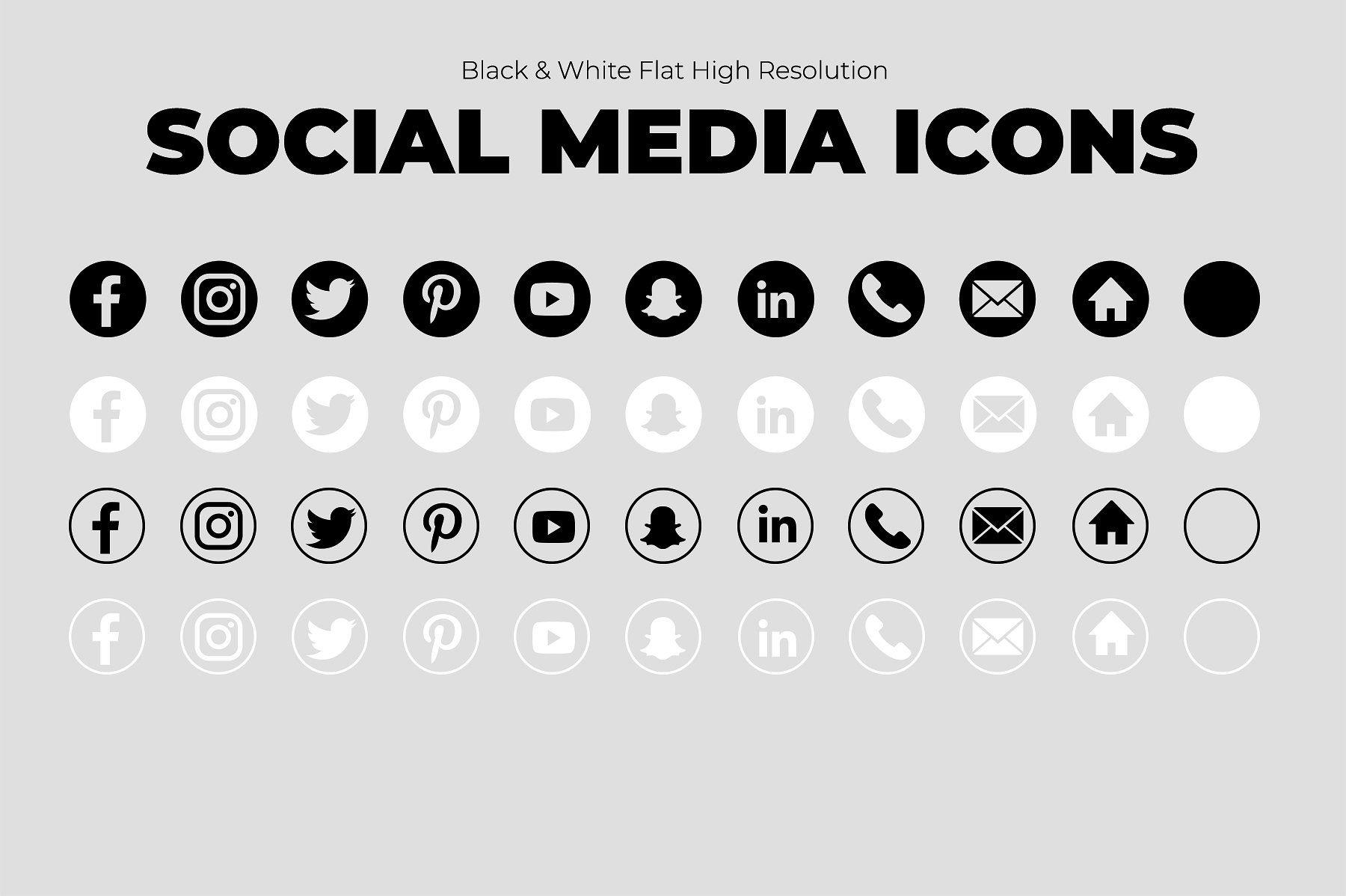 11 B&W Social Media Icons Social media icons, Social