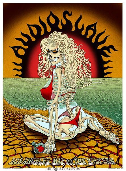 "Audioslave - LA concert poster (click image for more detail) Artist: EMEK Venue: Wiltern Theatre Location: Los Angeles, CA Concert Date: 5/20/2005 Edition: signed and numbered out of 200 Size: 24"" x 3"