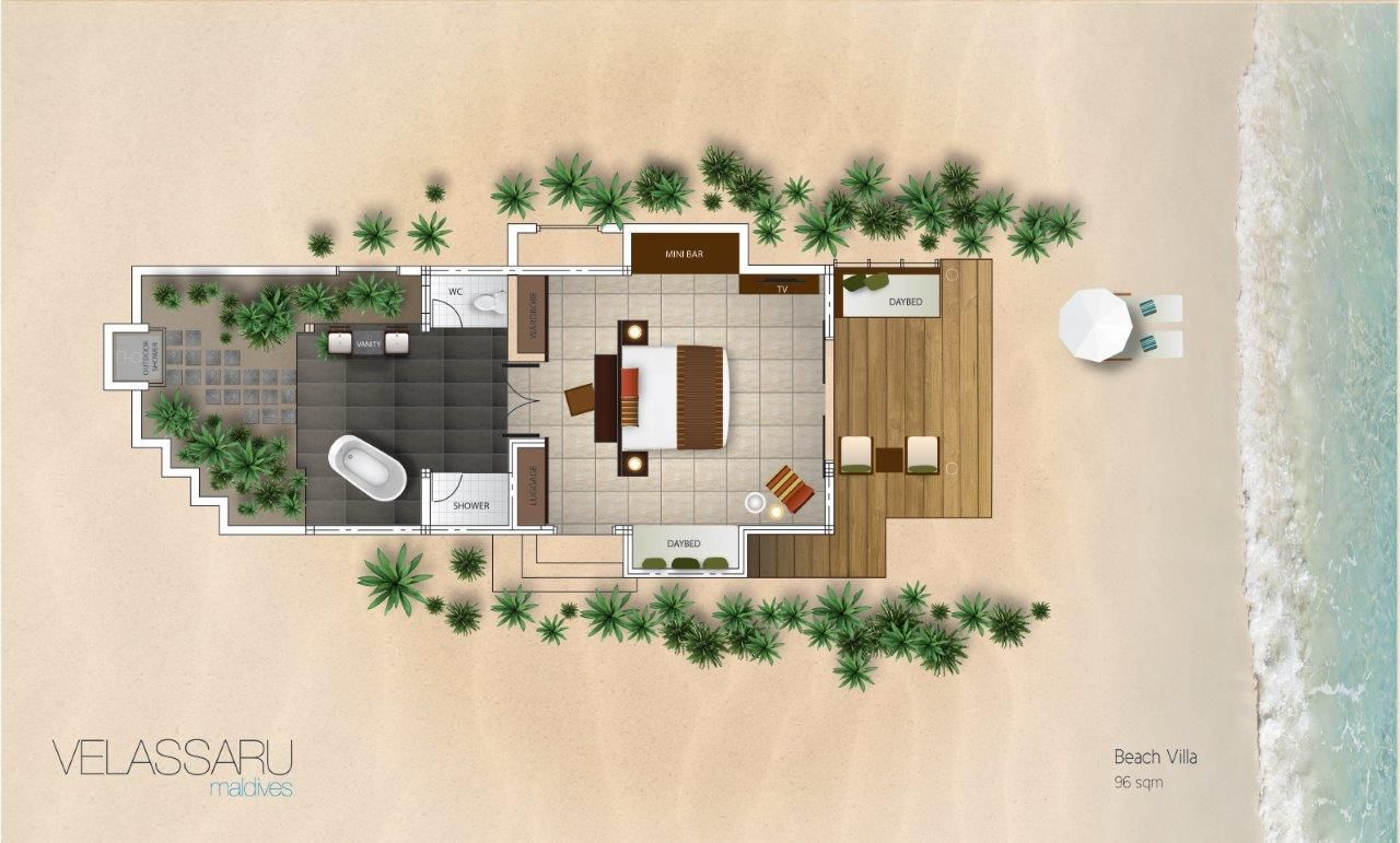 Beach Villa Floor Plan Jpg 1 280 771 Pixels Bungalow Floor Plans Floor Plans Villa Plan