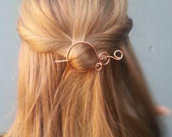 Open circle hair slide silver hair clip hammered brass hair ...