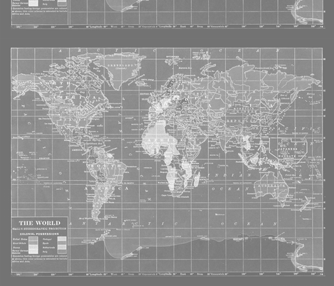Large gray world map fabric by aftermyart on spoonflower custom large gray world map fabric by aftermyart on spoonflower custom fabric gumiabroncs Images